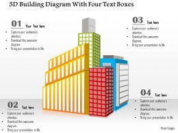 1214 3d Building Diagram With Four Text Boxes Powerpoint Template