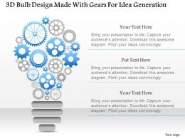 1214 3d Bulb Design Made With Gears For Idea Generation Powerpoint Template