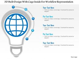1214 3d Bulb Design With Cage Inside For Workflow Representation PowerPoint Template