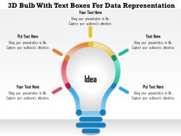 1214 3D Bulb With Text Boxes For Data Representation PowerPoint Presentation