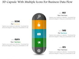 1214 3d Capsule With Multiple Icons For Business Data Flow Powerpoint Slide