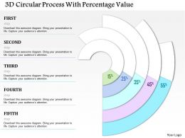 1214 3d Circular Process With Percentage Value PowerPoint Template