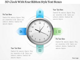 1214 3d Clock With Four Ribbon Style Text Boxes PowerPoint Template