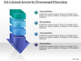 1214 3d Colored Arrow In Downward Direction Powerpoint Template