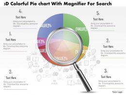 1214 3d Colorful Pie Graph With Magnifier Data Search Powerpoint Slide