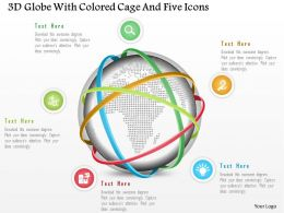 1214 3d Globe With Colored Cage And Five Icons Powerpoint Template