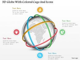 1214 3d Globe With Colored Cage And Icons Powerpoint Template