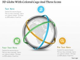 1214 3d Globe With Colored Cage And Three Icons Powerpoint Template