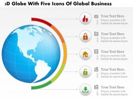 1214 3d Globe With Five Icons Of Global Business Powerpoint Template