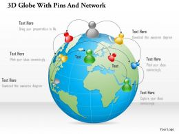 1214 3d Globe With Pins And Network Powerpoint Template