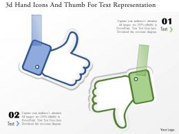 1214 3d Hand Icons And Thumb For Text Representation Powerpoint Template