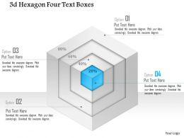 1214 3d Hexagon Four Text Boxes Powerpoint Template