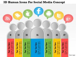 1214 3D Human Icons For Social Media Concept PowerPoint Presentation
