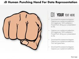 1214 3d Human Punching Hand For Data Representation Powerpoint Template