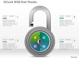 1214 3d Lock With Four Puzzles Powerpoint Template