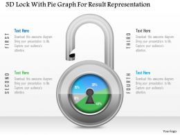 1214 3d Lock With Pie Graph For Result Representation Powerpoint Slide