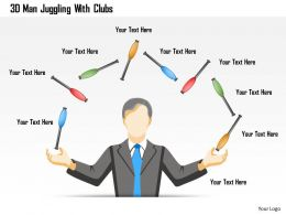 1214 3d Man Juggling With Clubs Powerpoint Template