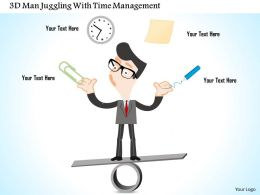 1214 3d Man Juggling With Time Management Powerpoint Template