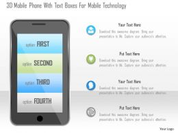 1214 3d Mobile Phone With Text Boxes For Mobile Technology Powerpoint Template