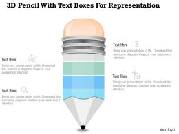 1214 3d Pencil With Text Boxes For Representation Powerpoint Slide