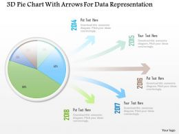 1214 3d Pie Chart With Arrows For Data Representation Powerpoint Slide