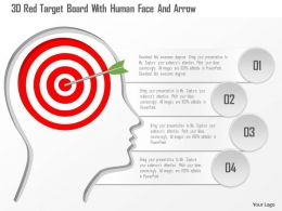 1214 3d Red Target Board With Human Face And Arrow Powerpoint Template