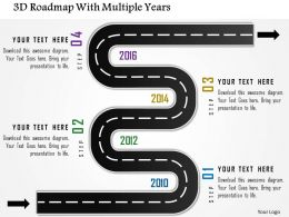 1214 3d Roadmap With Multiple Years Powerpoint Template