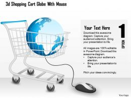 1214 3d Shopping Cart Globe With Mouse Powerpoint Template