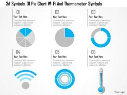 1214 3d Symbols Of Pie Chart Wi Fi And Thermometer Symbols Powerpoint Template