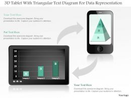 1214 3d Tablet With Triangular Text Diagram For Data Representation Powerpoint Slide