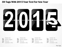 1214 3d Tags With 2015 Year Text For New Year PowerPoint Template