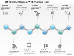 1214 3D Timeline Diagram With Multiple Icons PowerPoint Presentation
