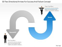 1214 3d Two Directional Arrows For Success And Failure Concept Powerpoint Template