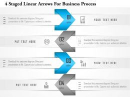1214 4 Staged Linear Arrows For Business Process PowerPoint Template