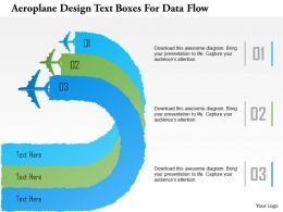 1214 Aeroplane Design Text Boxes For Data Flow Powerpoint Template
