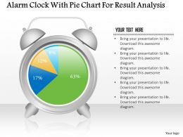 1214 Alarm Clock With Pie Chart For Result Analysis Powerpoint Slide