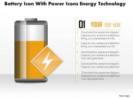 1214 Battery Icon With Power Icons Energy Technology Powerpoint Slide