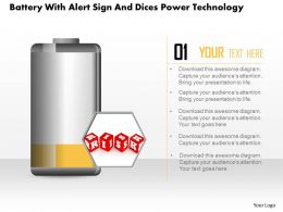 1214 Battery With Alert Sign And Dices Power Technology Powerpoint Slide