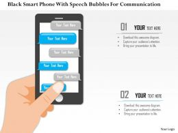 1214 Black Smart Phone With Speech Bubbles For Communication PowerPoint Presentation