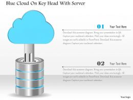 1214 Blue Cloud On Key Head With Server Powerpoint Template