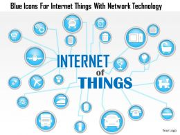 1214 Blue Icons For Internet Things With Network Technology PowerPoint Template