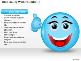 1214 Blue Smiley With Thumbs Up PowerPoint Template