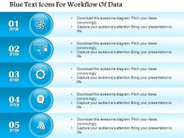 1214 Blue Text Icons For Workflow Of Data PowerPoint Template