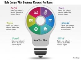 1214 Bulb Design With Business Concept And Icons Powerpoint Template