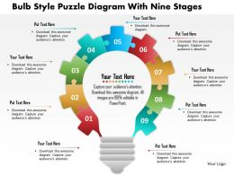 1214 Bulb Style Puzzle Diagram With Nine Stages Powerpoint Template
