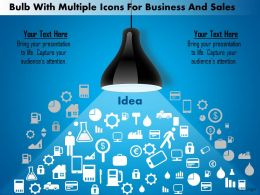 1214 Bulb With Multiple Icons For Business And Sales PowerPoint Presentation
