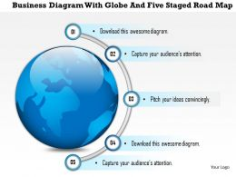 1214 Business Diagram With Globe And Five Staged Road Map PowerPoint Presentation