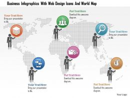 1214 Business Infographics With Web Design Icons And World Map Powerpoint Template