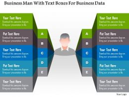 1214 Business Man With Text Boxes For Business Data Powerpoint Template