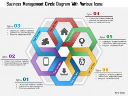 1214 Business Management Circle Diagram With Various Icons Powerpoint Template